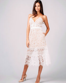 White midi dress in floral guipure fabric from Self-Portrait