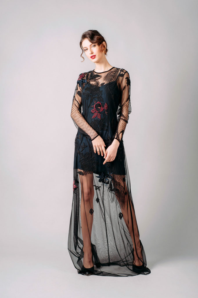 French Connection Wednesday Stitch Embroidered Mesh Maxi Dress