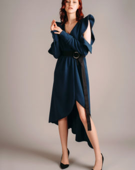 Self-Portrait Navy Asymmetric Wrap Dress