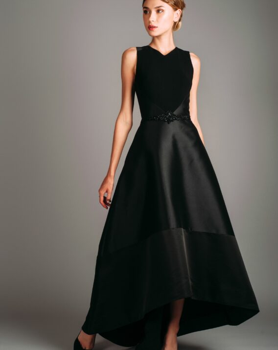 Theia Couture High-Low Black Sleeveless Gown
