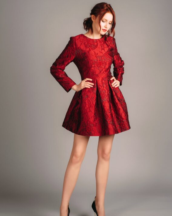 Dolce Gabbana red jacquard dress