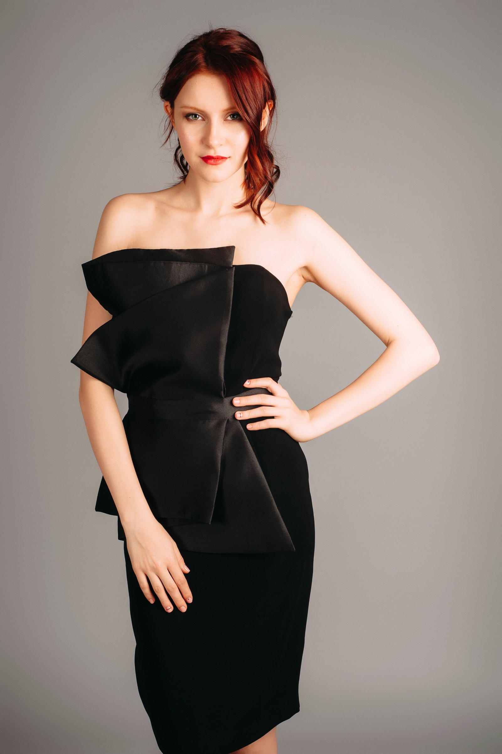 Atelier Miss Lu Black Dress with Large Bow Tie