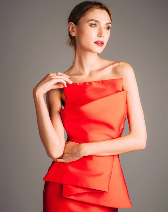 Hyra Atelier Miss Lu Red Dress with Large Bow Detail