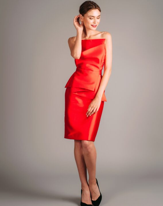 Atelier Miss Lu Red Dress with Large Bow Detail