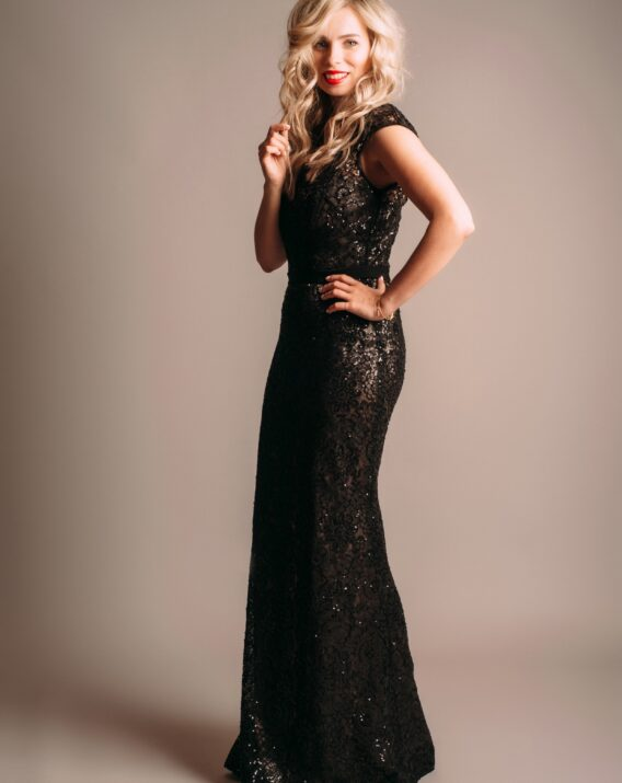 Theia Couture Beaded Illusion Black Nude Gown