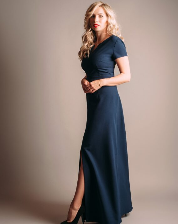 Anna Ceornea Navy Blue Maxi Dress