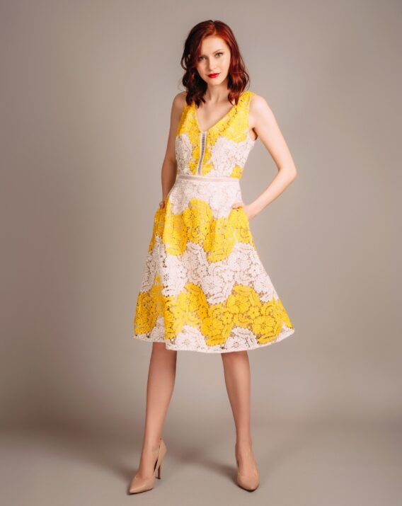Adrianna Papell Yellow Lace Dress
