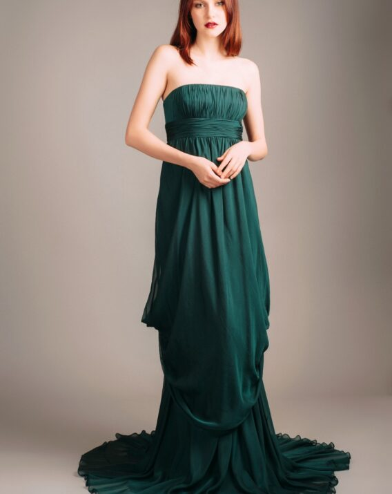 Carmen Marc Valvo Green Draped Silk Gown