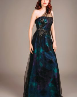 Theia Couture Turquoise Draped Gown