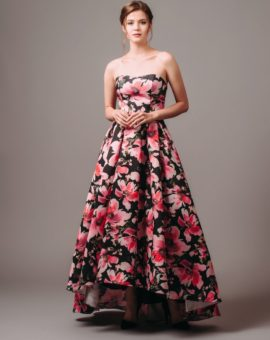 Rent AQUA Strapless Floral Ball Gown