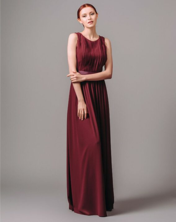 By Malina wine red long evening dress