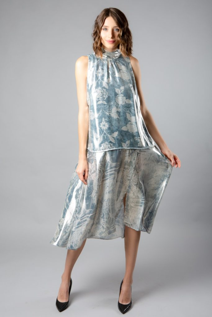 HM Conscious Exclusive Metallic lyocell and silk dress