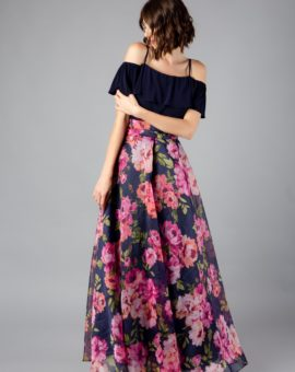Eliza J Cold-Shoulder Floral Gown