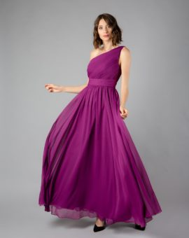 Hyra Angelina Faccenda Purple A-Line One-shoulder ball dress