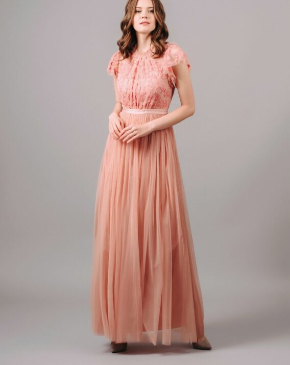 Needle and Thread Short Sleeve Embroidered Maxi Dress