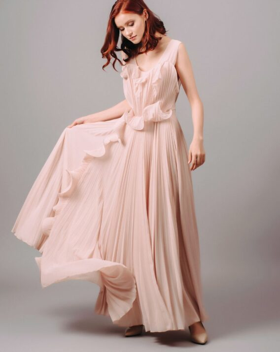 H&M Conscious Exclusive Pink Pleated Skirt Frill Dress