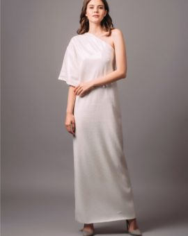AQ/AQ White One Sleeve Kimono Sequin Dress