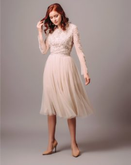 Needle and Thread Embellished Long Sleeve Tulle Skirt midi dress