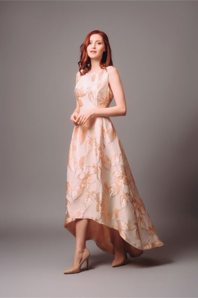 Hyra balklänning Adrianna Papell High Low Jacquard Gown