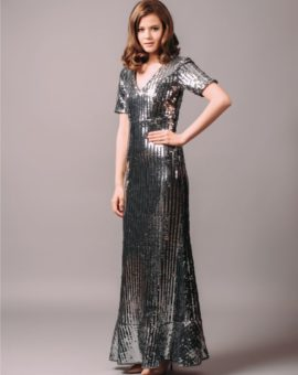 By Malina Adelina Silver Sequin Dress