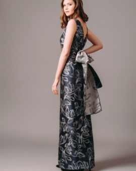 Rent Carolina Herrera Floral Jacquard Gown with Contrast Bow Tie