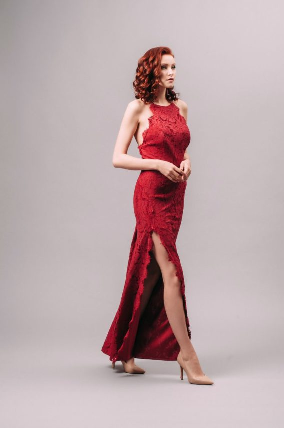 Fame and Partners Burgundy Lace Slit Dress with Spaghetti Straps