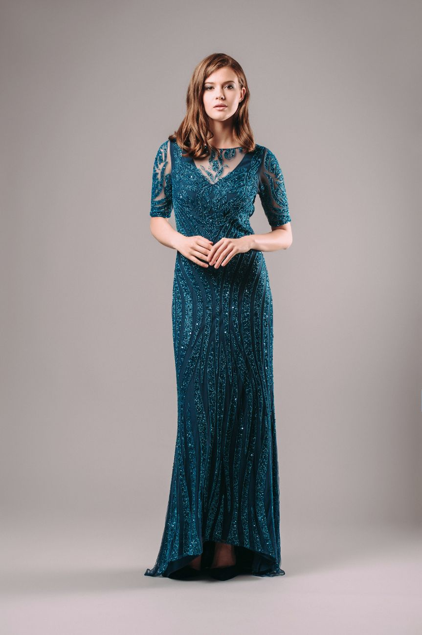 Talitha Embroidered open back maxi dress with sleeves