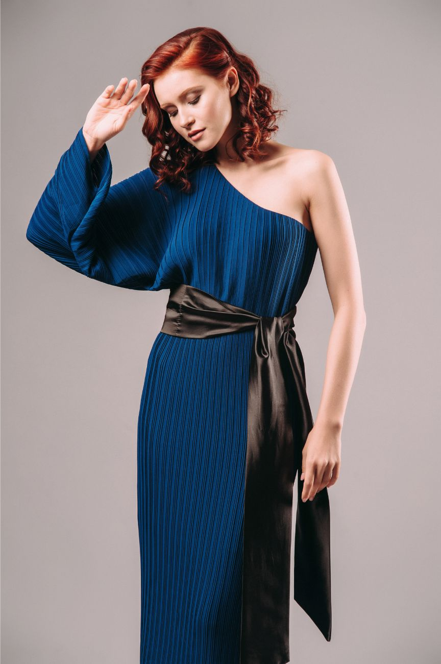 Rent Solace London Drew Pleated One Sleeve Dress