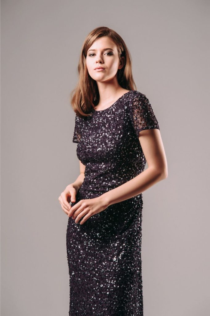 Rent Adrianna Papell Short Sleeve Sequin Mesh Gown