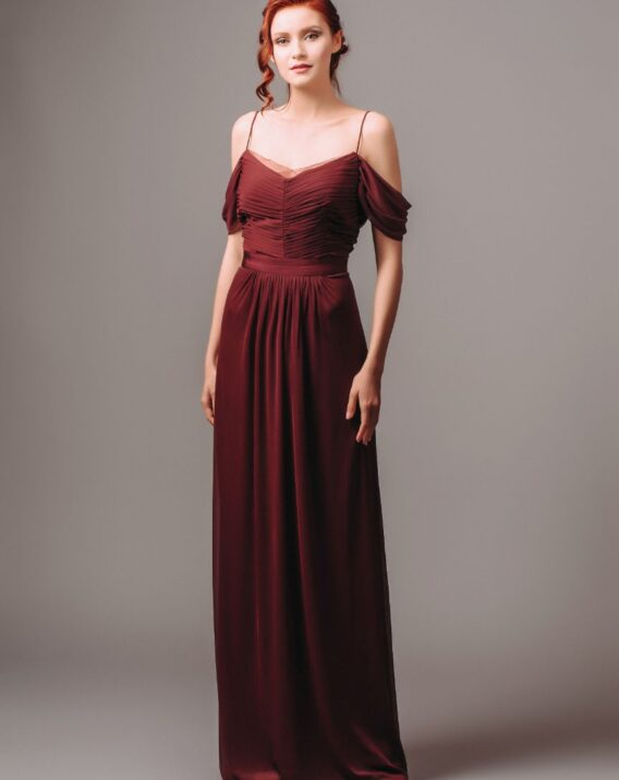 Adrianna Papell Burgundy Cold-Shoulder Maxi Dress