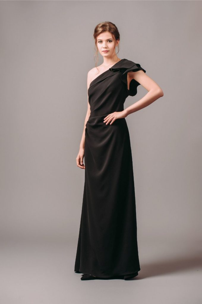 Carmen Marc Valvo Infusion One Shoulder Ruffle Gown