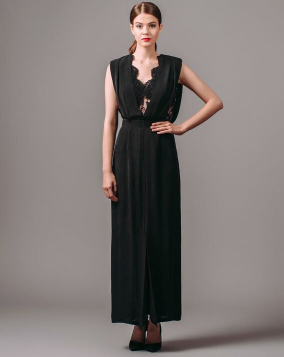 Raoul Black Silk Lace Dress