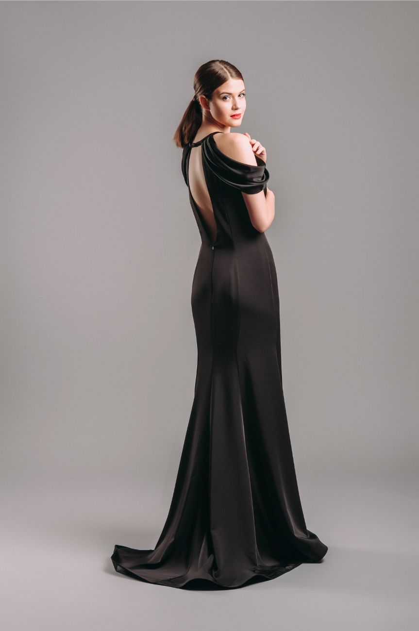 Dave and Johnny Black Cold-Shoulder Ball Gown