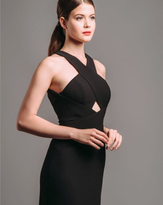 Rent BCBG Salome Cut-out Black Halter Gown