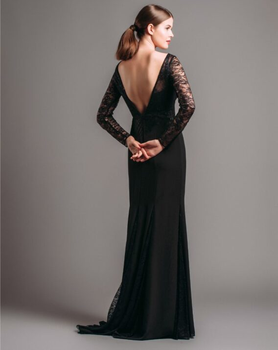 Rent Pronovias Long Sleeves Black Gown