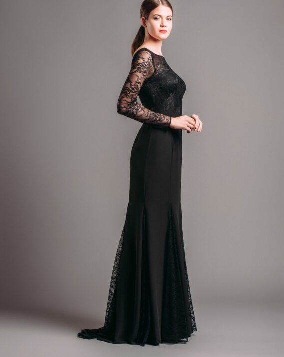 Pronovias Long Sleeves Black Gown