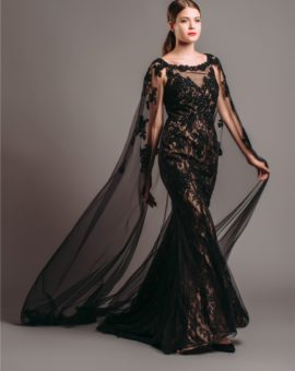 Terani Couture Black Embellished Cape Gown