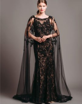 Rent Terani Couture Black Embellished Cape Gown