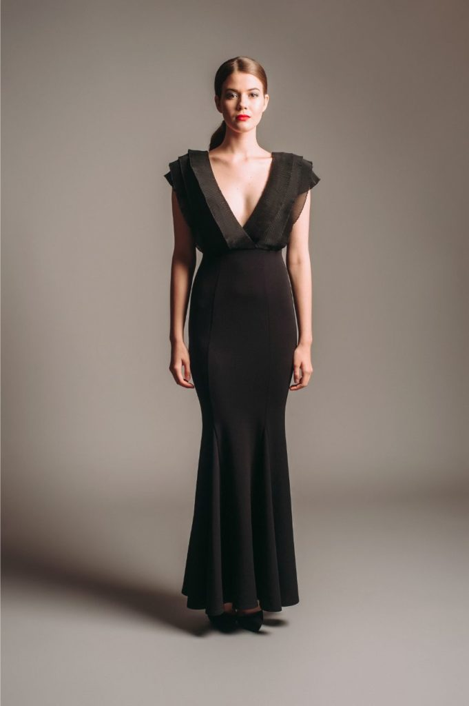 Lipsy Black Low Plunge Ruffle Gown