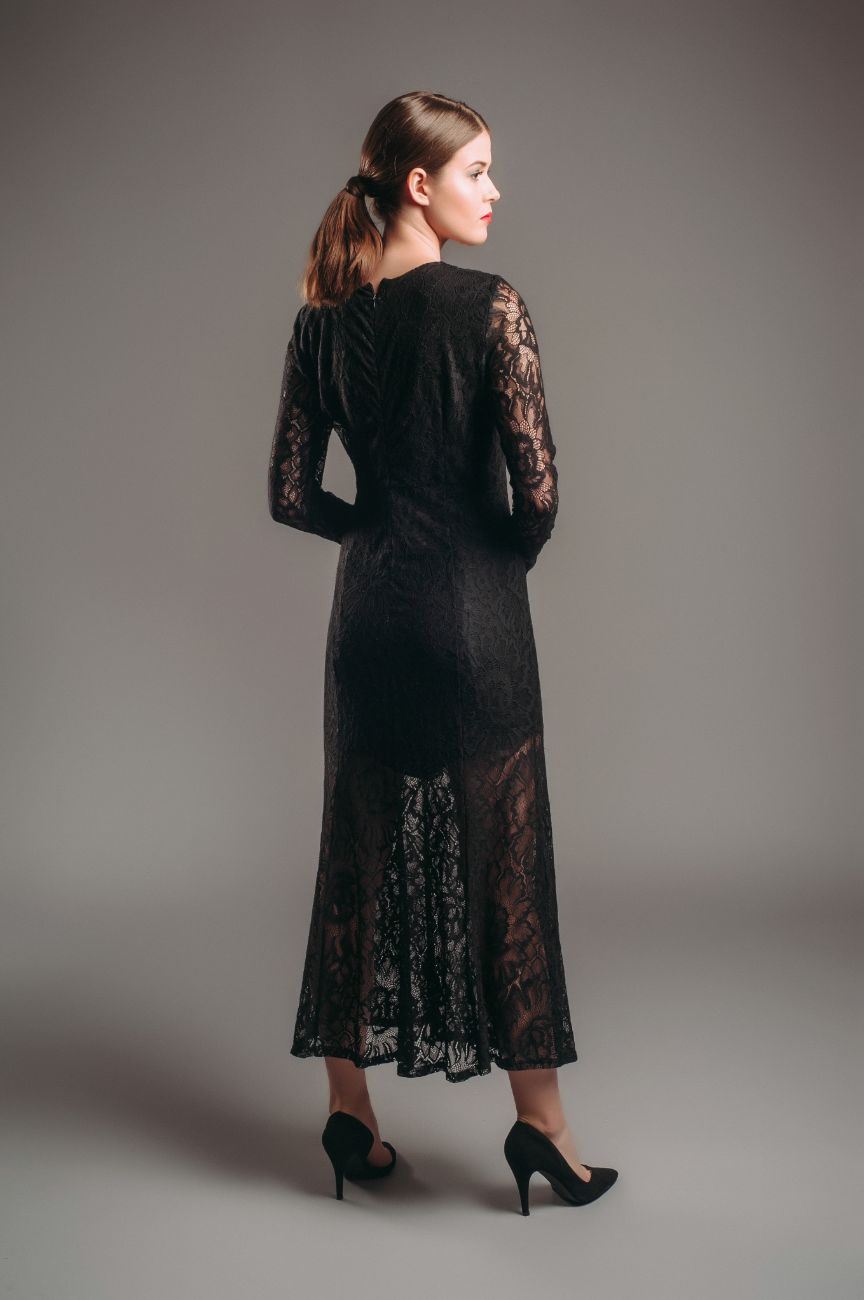 Hyra klänning & Other Stories Black Long Sleeve Lace Dress