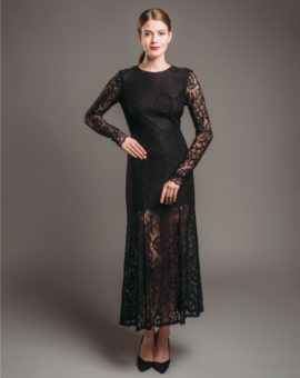 & Other Stories Black Long Sleeve Lace Dress