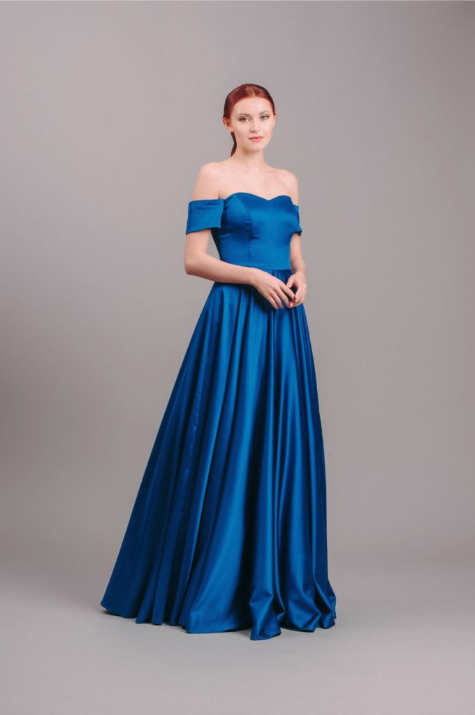 By Malina Royal Blue Off-Shoulder Ball Gown