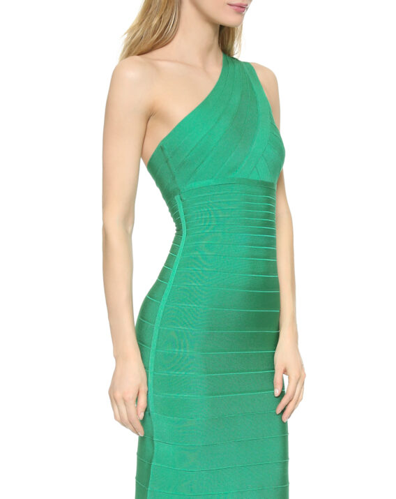 Rent Herve Leger Green One Shoulder Bondage Llyanna Gown