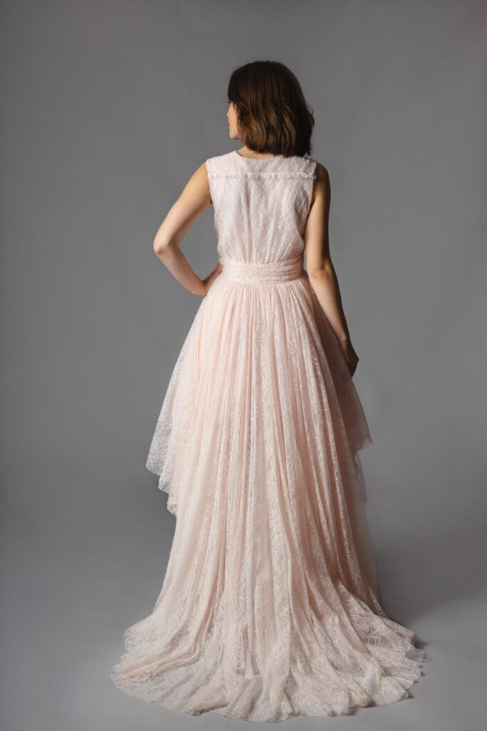 Giambattista Valli x H&M - High-Low Pink Lace Heart Gown back 2