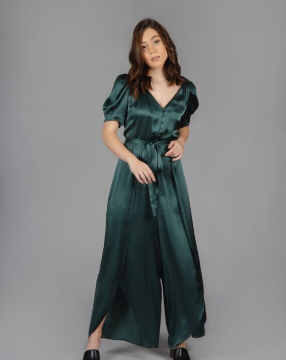 & Other Stories - Puff Sleeve Silk Jumpsuit