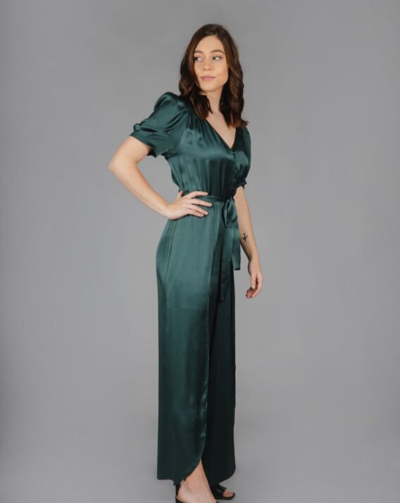 Rent & Other Stories - Puff Sleeve Silk Jumpsuit