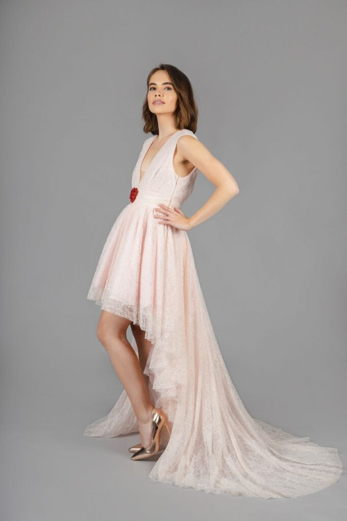 Giambattista Valli x H&M - High-Low Pink Lace Heart Gown