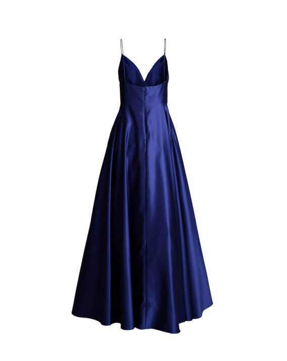 Avery G - Blue Satin Ball Gown back