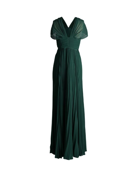 Rent Self-Portrait - Plated Chiffong Maxi Dress