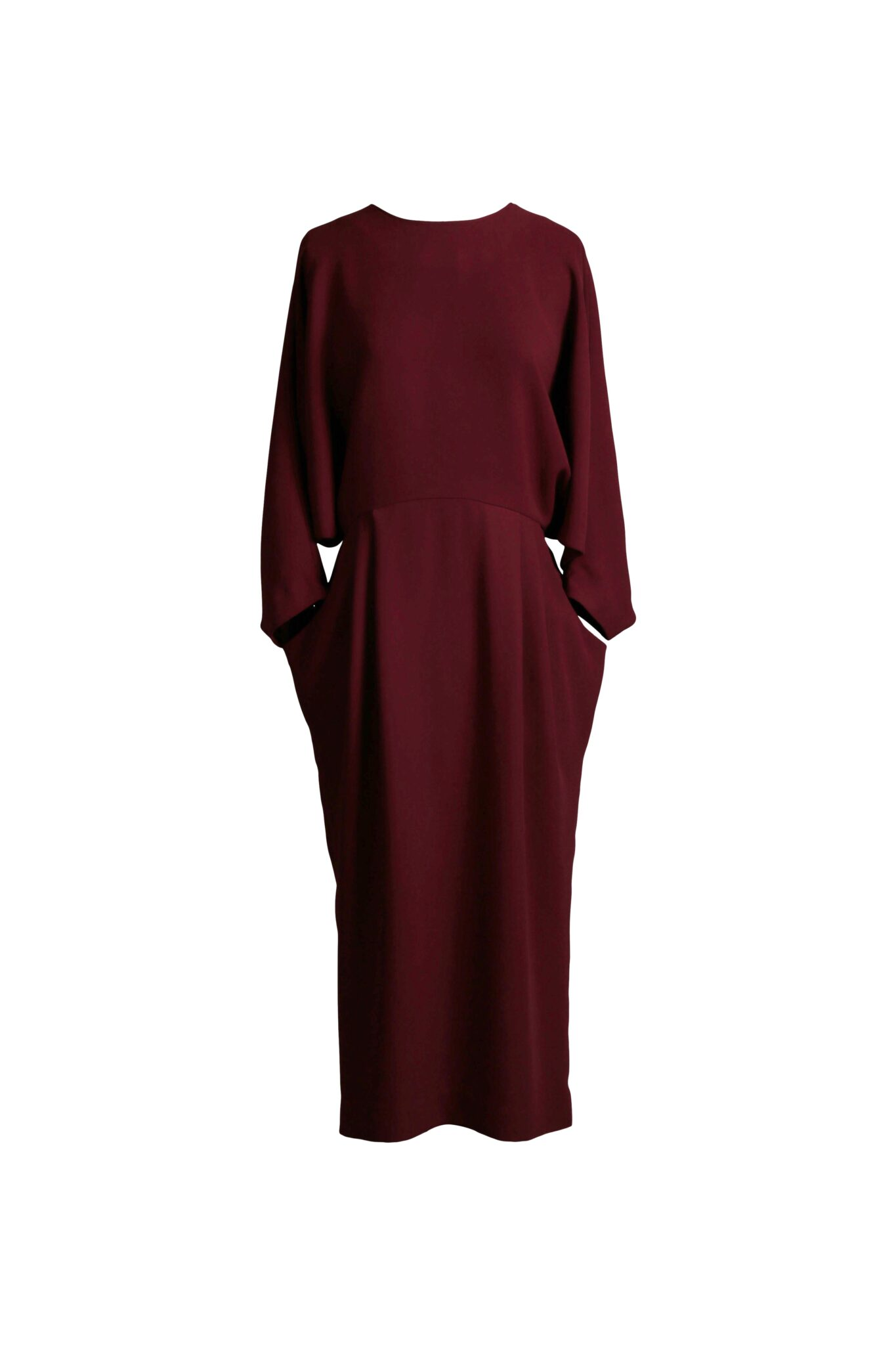 Rent & Other Stories - Open Back Sleeve Dress Burgundy
